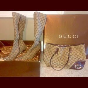 Size 10 Signature Gucci Boots & Gucci Canvas Tote